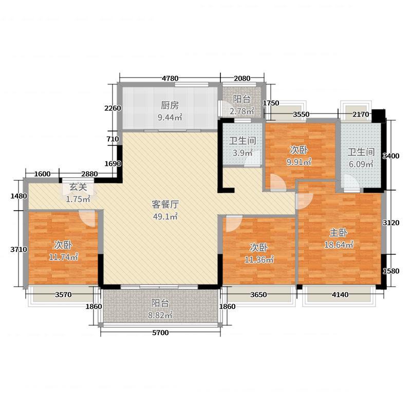 碧桂园逸泉山庄别墅139.00㎡翠云峰洋房YJ140-B户型4室4厅2卫1厨