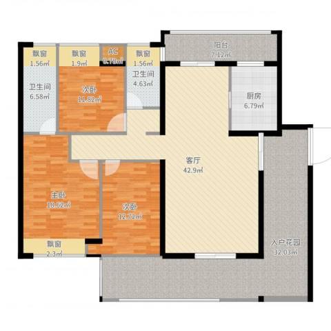 水映山花园3室1厅2卫1厨180.00㎡户型图