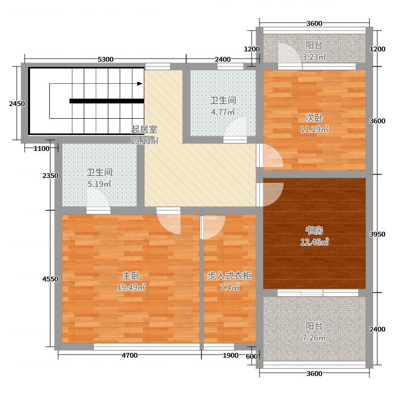 江南福郡98.57㎡别墅B2层户型2室2厅2卫