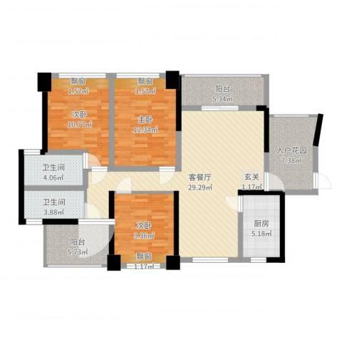 滨江晋业豪园3室2厅2卫1厨117.00㎡户型图