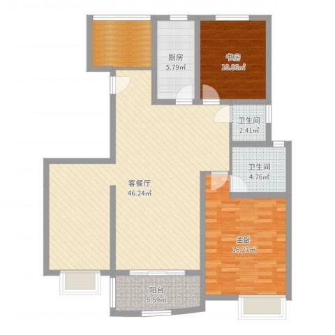 吉富绅花园2室2厅2卫1厨121.00㎡户型图