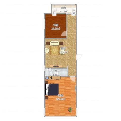 华新园2室1厅1卫1厨85.00㎡户型图