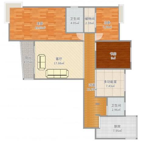 静安晶华园3室1厅2卫1厨118.00㎡户型图