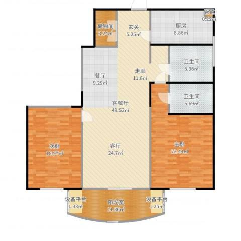 静安鼎鑫佳园2室2厅2卫1厨160.00㎡户型图
