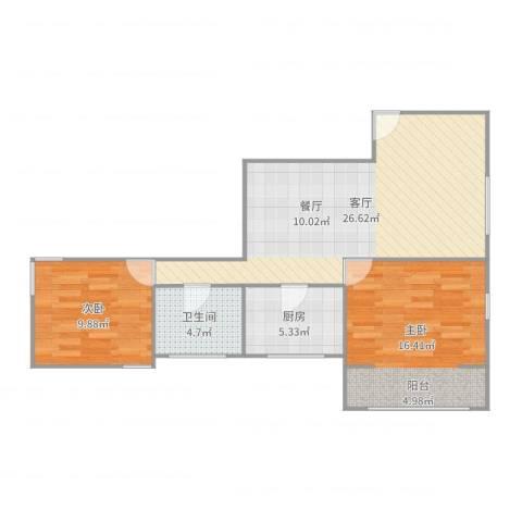 胶州教师公寓2室1厅1卫1厨79.00㎡户型图