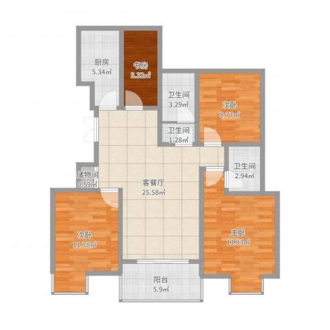 国信龙湖世家4室2厅3卫1厨106.00㎡户型图