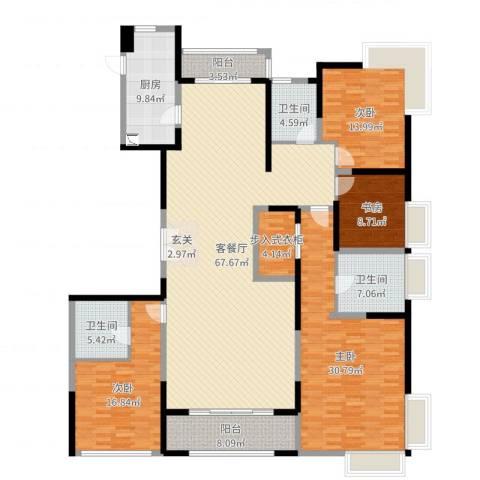 海珀兰庭4室2厅3卫1厨226.00㎡户型图