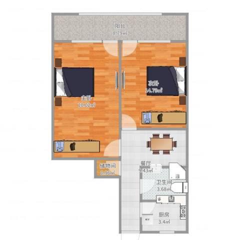 昌平大楼2室1厅1卫1厨76.00㎡户型图