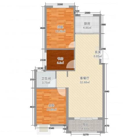 梧桐公馆3室2厅1卫1厨99.00㎡户型图