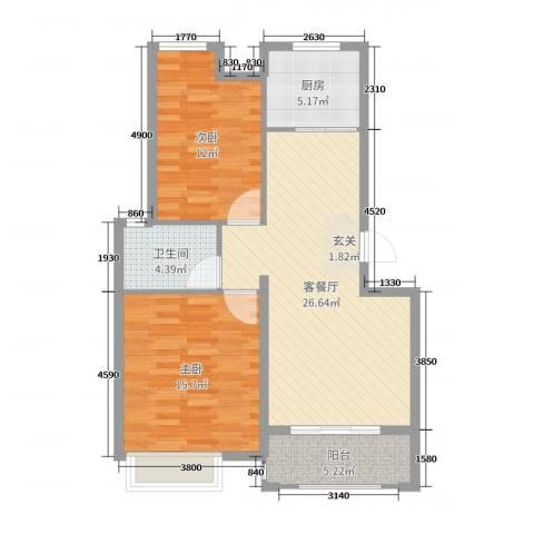 梧桐公馆2室2厅1卫1厨86.00㎡户型图
