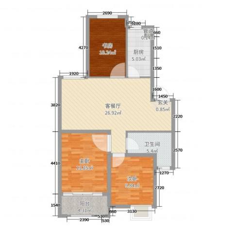 梧桐公馆3室2厅1卫1厨94.00㎡户型图
