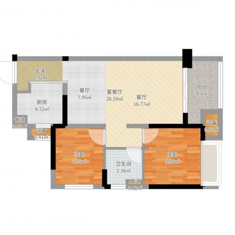 万科城市花园2室2厅1卫1厨72.00㎡户型图