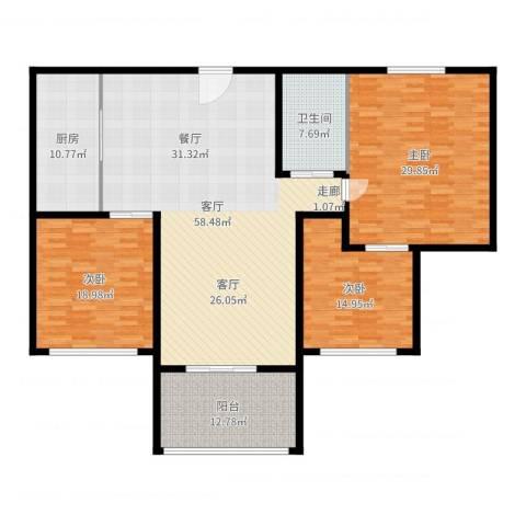 上城uptown3室1厅1卫1厨192.00㎡户型图