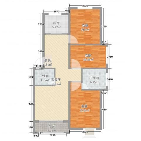 梧桐公馆3室2厅2卫1厨112.00㎡户型图
