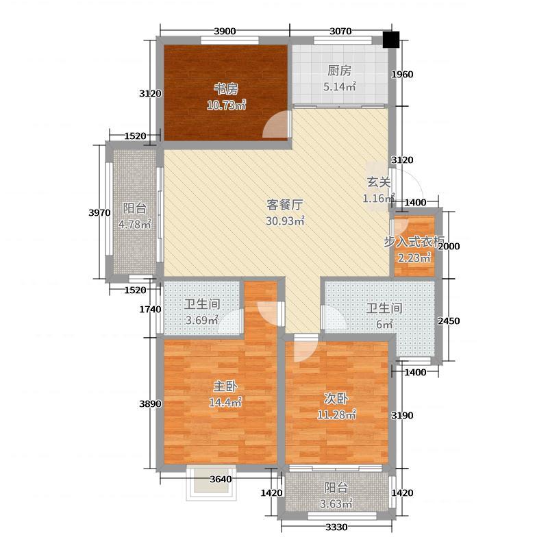 梧桐公馆116.00㎡三期13#14#楼标准层D户型3室3厅2卫1厨