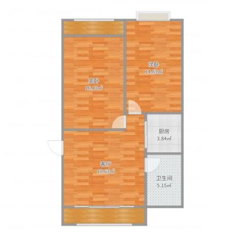 宝华新区2室1厅1卫1厨81.00㎡户型图