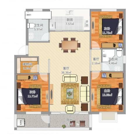 启明星辰3室2厅2卫1厨132.00㎡户型图