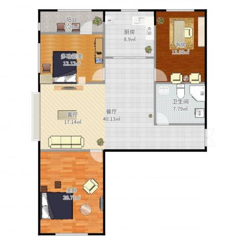 盛世华庭2室1厅1卫1厨136.00㎡户型图