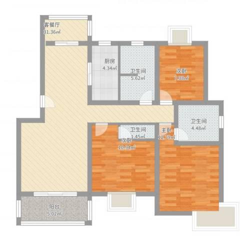 三岛龙州苑3室2厅3卫1厨122.00㎡户型图