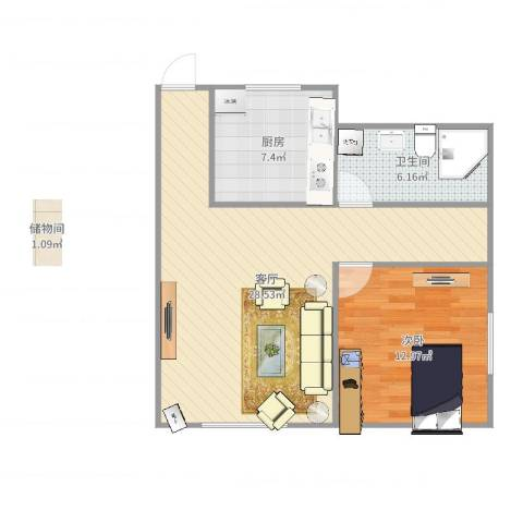 康城1室1厅1卫1厨55.06㎡户型图