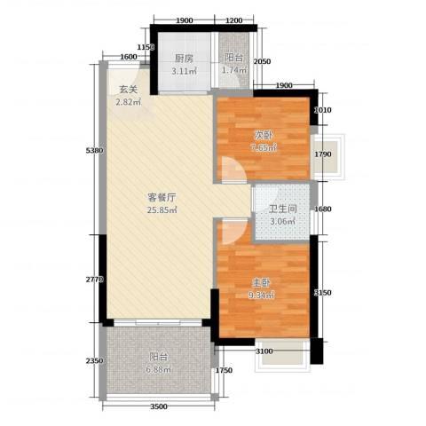 广铝荔富湖畔2室2厅1卫1厨75.00㎡户型图