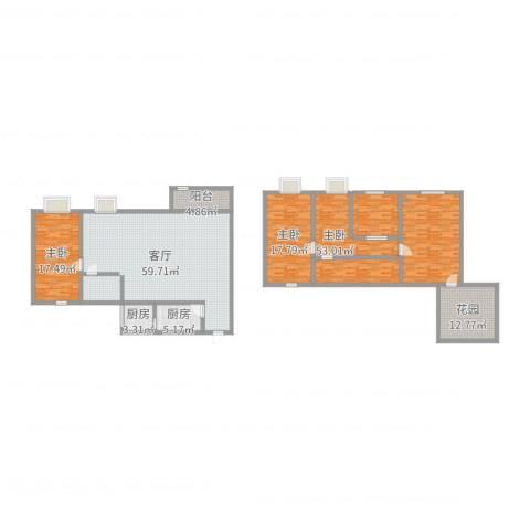 双语雅苑3室1厅1卫2厨218.00㎡户型图