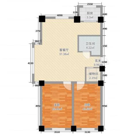 世纪阳光2室2厅1卫1厨95.00㎡户型图