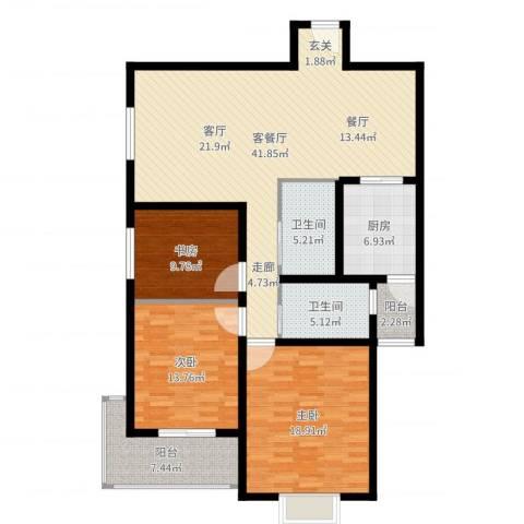 市政府文景小区3室2厅2卫1厨139.00㎡户型图