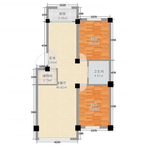 世纪阳光2室2厅1卫1厨97.00㎡户型图