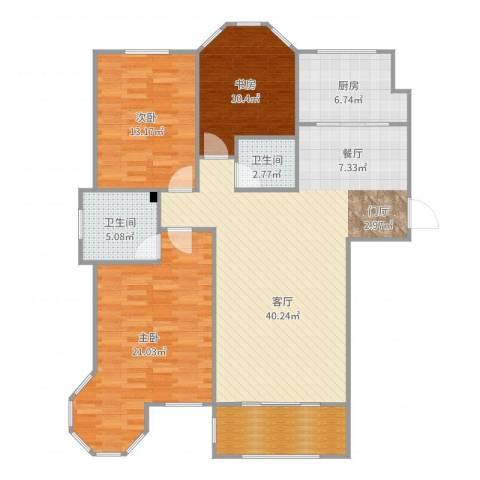 香格里拉水岸绿城3室1厅2卫1厨132.00㎡户型图