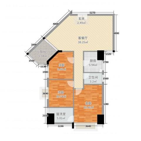 御峰国际3室2厅1卫1厨121.00㎡户型图