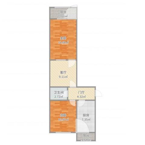 青塔东里小区2室1厅1卫1厨67.00㎡户型图