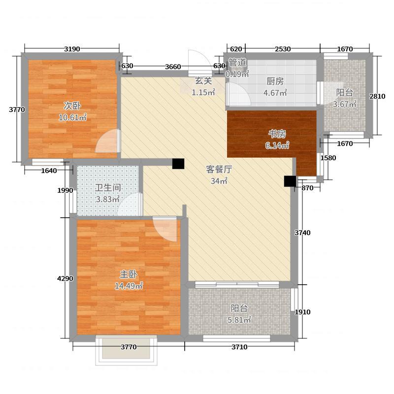 台�N国际广场96.00㎡2#3#5#B户型3室3厅1卫1厨