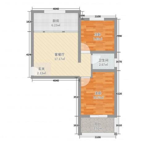 藏龙镇2室2厅1卫1厨60.00㎡户型图