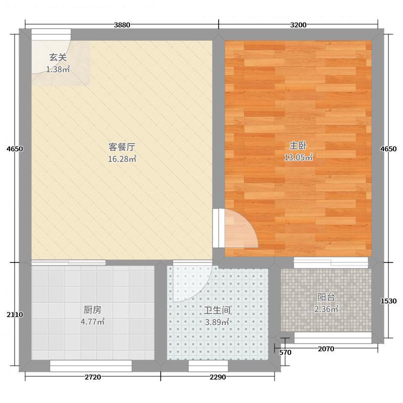 藏龙镇50.44㎡A2户型1室1厅1卫1厨