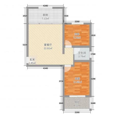 藏龙镇2室2厅1卫1厨70.00㎡户型图