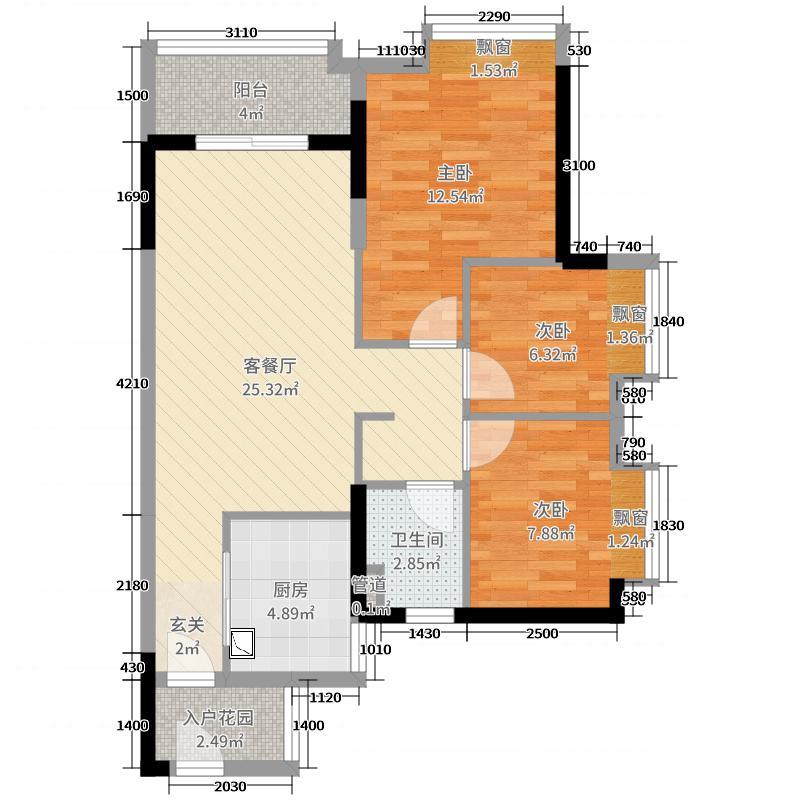 时代廊桥85.00㎡1/2座03/04单元户型3室3厅1卫1厨