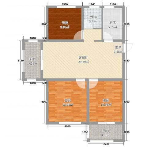 御水帝景城3室2厅1卫1厨107.00㎡户型图