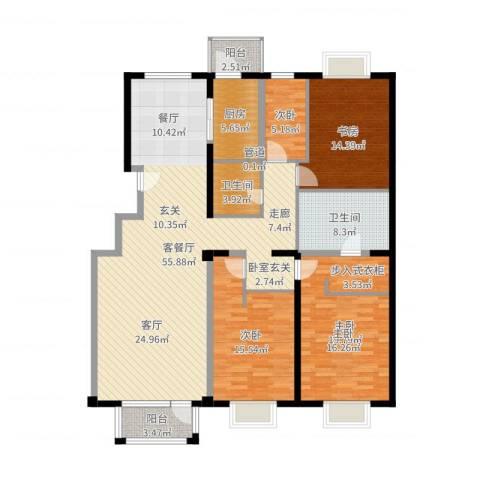 亚运新新家园4室2厅2卫1厨168.00㎡户型图