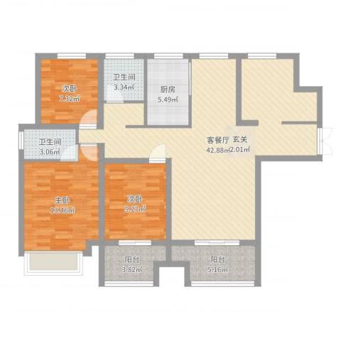 荣昌绿园3室2厅2卫1厨117.00㎡户型图