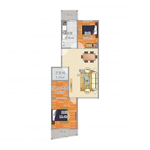 翠屏北里西区2室1厅1卫1厨83.00㎡户型图