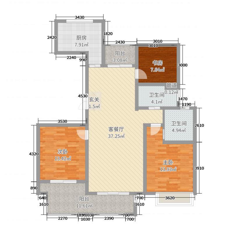 泰富时代广场130.00㎡二期2#、5#标准层D户型3室3厅2卫1厨