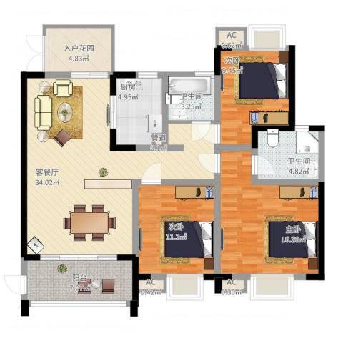 世纪城龙吉苑3室2厅2卫1厨141.00㎡户型图