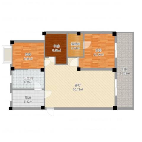 如意金水湾3室1厅1卫1厨107.00㎡户型图