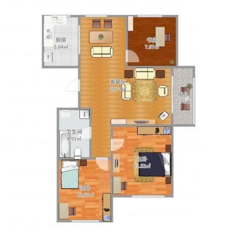 香格里拉3室2厅1卫1厨98.00㎡户型图
