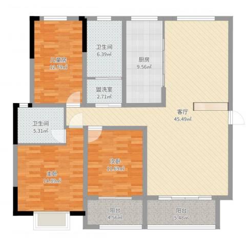 华翔世纪城3室3厅2卫1厨149.00㎡户型图