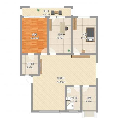 东山花园3室2厅2卫1厨131.00㎡户型图