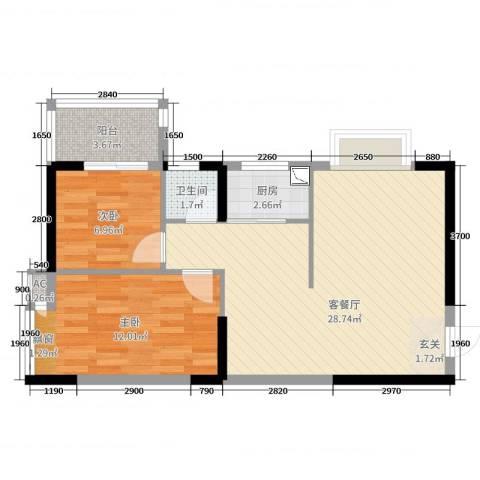 嘉和名苑2室2厅1卫1厨70.00㎡户型图