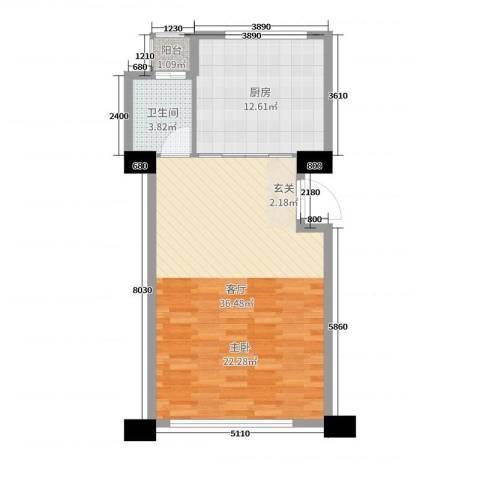 新城帝景1厅1卫1厨68.00㎡户型图