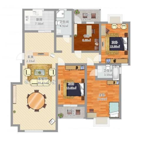 顺达碧海名居4室2厅2卫1厨133.07㎡户型图